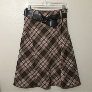 Jones Wear Plaid A-lined Skirt with Belt